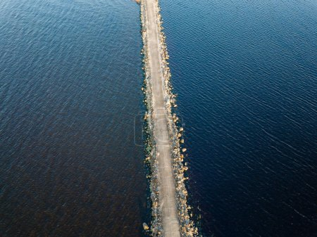 drone image. aerial view of sunset in the sea by the sea gates. Riga, latvia