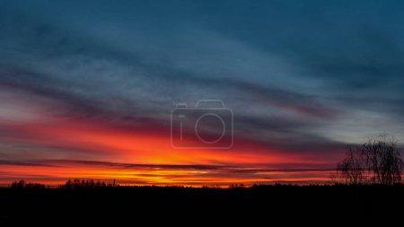 Photo pour Lever de soleil spectaculaire sur les arbres tranquilles de campagne dans la forêt. latvia - image libre de droit