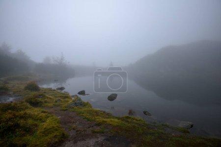 Photo pour Sentier de randonnée touristique par temps brumeux brumeux avec pluie et pas rocheux. Slovaquie - image libre de droit
