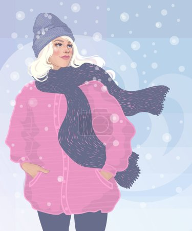 Illustration for Beautiful young blonde girl walking in a winter blizzard, in a pink coat and cute hat, a scarf fluttering - Royalty Free Image
