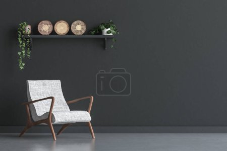 Photo for Chair with wall decor in living room interior, black wall mock up background, 3D render - Royalty Free Image