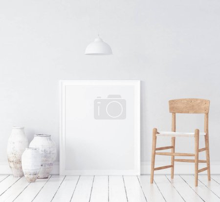 Photo for Mock-up in Nordic interior background, 3d render - Royalty Free Image