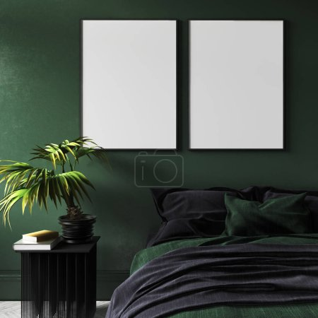 Photo for Mock-up poster in modern dark green bedroom interior with potted plant on table,3d render - Royalty Free Image