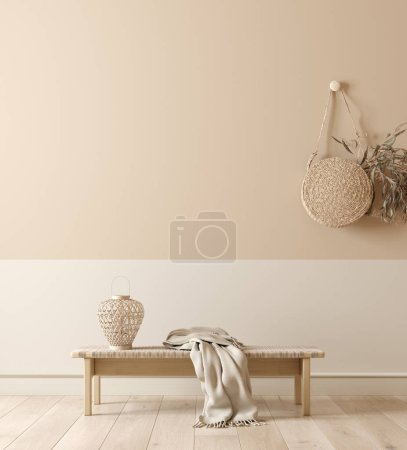 Photo for Scandinavian interior with bench, lamp and wicker handbag, wall mock up and minimal decor in room background, 3d rendering - Royalty Free Image