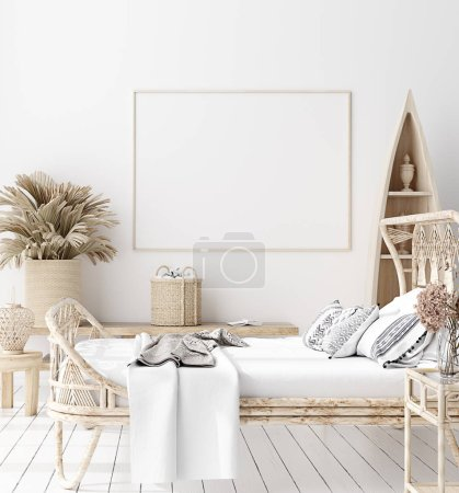 Photo for Mock-up poster,wall in bedroom, Scandinavian style, 3d render - Royalty Free Image