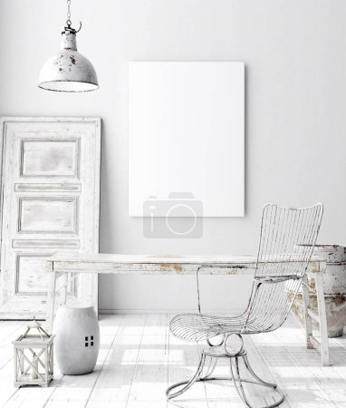 Photo for Mock-up poster frame in decorated room interior, Scandinavian style, 3d render - Royalty Free Image