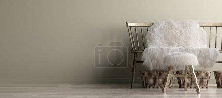 Photo pour Intérieur de la maison maquette avec vieux banc, style bohème scandinave, rendu 3d - image libre de droit