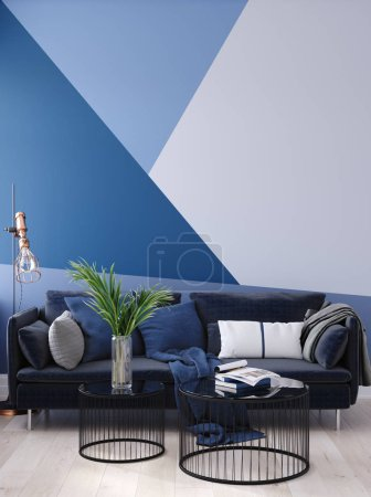 Photo for Luxury modern blue living room interior with geometric form patterned wall, dark blue sofa, floor lamp and coffee table , 3d render - Royalty Free Image