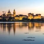 City of Mantova skyline evening view, European cap...