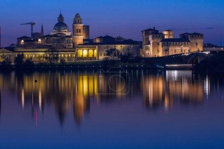 Twilight over Mantova skyline reflected in Lago In...