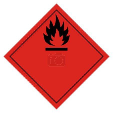 Photo pour Illustration matricielle pictogramme de danger - panneau de transport inflammable isolé sur fond blanc. Transport de marchandises dangereuses - image libre de droit