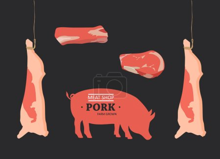 Photo for Pig, pork. Vintage logo, retro print, poster for Butchery meat shop with text, typography Pork, Meat Shop, Farm Grown, pig silhouette. Farmers market and shop. Raster Illustration - Royalty Free Image