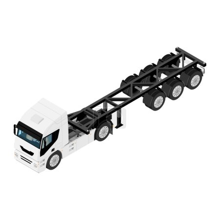 Illustration for Heavy transport semi truck with double wheels without container isometric view isolated on white background - Royalty Free Image