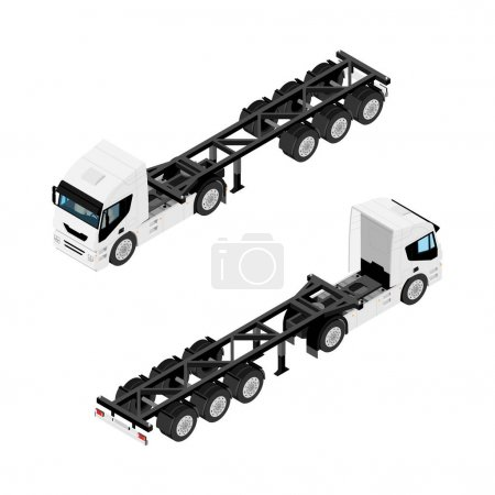 Illustration for Heavy transport semi truck without container isometric view isolated on white background - Royalty Free Image