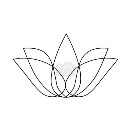 Illustration for Stylized lotus. Lotus flower for a logo. Black white vector illustration. Tattoo - Royalty Free Image