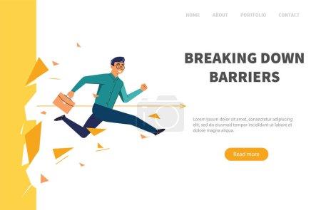 Geschäftsmann durchbricht Mauer. Web-Banner Mann überwindet die Barriere. Illustration des Geschäftskonzepts.