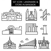set icon landmark & store in Bangkok vector illustration