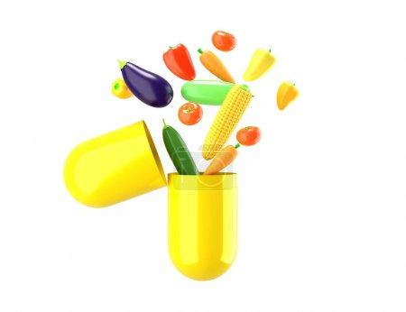 Photo pour Les légumes frais sortent de la pilule. Illustration conceptuelle de compléments alimentaires avec espace vide pour le texte. rendu 3D . - image libre de droit