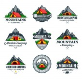 Set of vector mountain camping and outdoor recreation logo Campground badges