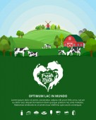 Vector milk illustration with milk splash Summer rural landscape with cows calves and farm