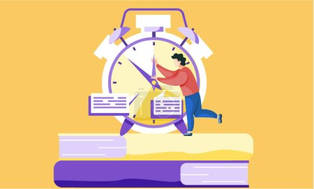 The fleeting time before the exam. Student is trying to stop the time vector illustration