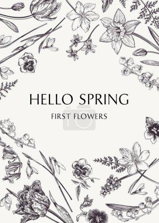 Illustration pour Carte botanique avec fleurs de printemps. Illustration vectorielle. Gravure. Noir et blanc . - image libre de droit