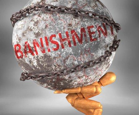 Photo pour Le bannissement et les difficultés dans la vie - représenté par le mot Le bannissement comme un poids lourd sur les épaules pour symboliser Le bannissement comme un fardeau, illustration 3D - image libre de droit