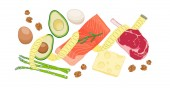 Atkins low carb diet concept illustration with meat fatty fish eggs vegetables cheese and nuts