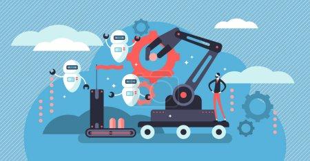 Illustration pour Illustration vectorielle robotique. Concept plat de personne minuscule avec de futurs robots. Industrie 4.0 - automatisation de l'emploi dans les usines, crise de l'emploi et adoption technologique des machines d'intelligence artificielle - image libre de droit