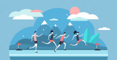 Running vector illustration Flat tiny sport exercise persons crowd concept