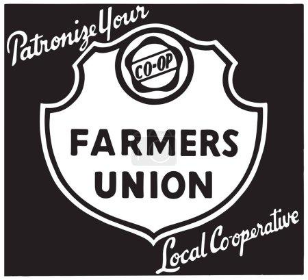 Illustration pour Union des agriculteurs - bannière d'art publicitaire rétro - image libre de droit