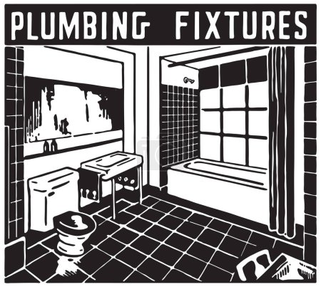 Illustration for Plumbing Fixtures - Retro Ad Art Banner - Royalty Free Image
