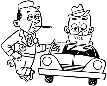 Illustration for Paying The Mechanic - Retro Clip Art Illustration - Royalty Free Image