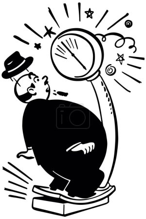 Illustration for Fat Man On Weigh Scale - Getting bad news - Royalty Free Image