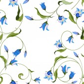 Seamless pattern with flowers blue bell ornate ornament on white background