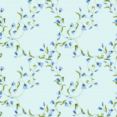 Seamless pattern with flowers blue bell ornate ornament on light bluish background
