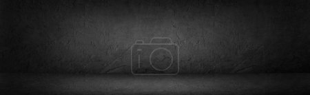 Photo for Black or dark grey abstract stone background, wall, studio room - Royalty Free Image