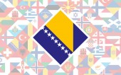 Flag background of European countries with big flag of Bosnia and Herzegovina in the centre for Football competition
