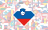 Flag background of European countries with big flag of Slovenia in the centre for Football competition
