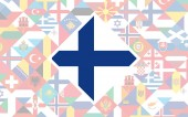 Flag background of European countries with big flag of Finland in the centre for Football competition