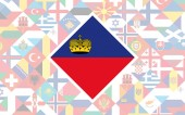Flag background of European countries with big flag of Liechtenstein in the centre for Football competition