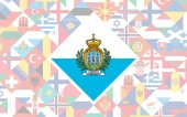 Flag background of European countries with big flag of San Marino in the centre for Football competition