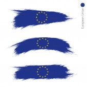 Set of 3 grunge textured flag of European Union three versions of flag in brush strokes painted style Vector flags