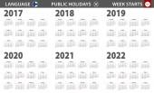 2017-2022 year calendar in Finnish language week starts from Sunday