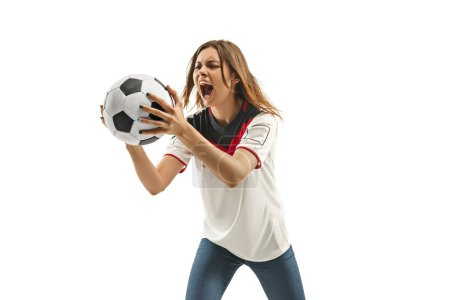 Photo for Egyptian female fan celebrating on white background. The young woman in soccer football uniform as winner standing and screaming isolated at white studio. Fan, support concept. Human emotions concept. - Royalty Free Image