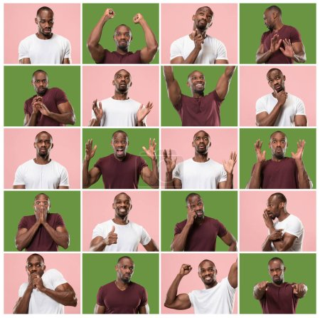 Photo for The collage of different human facial expressions, emotions and feelings of young man. Happy business afro man standing and smiling isolated on studio background. Human emotions, facial expression - Royalty Free Image
