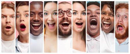 Photo pour Le collage des jeunes femmes et des jeunes hommes souriants et surpris expressions du visage - image libre de droit