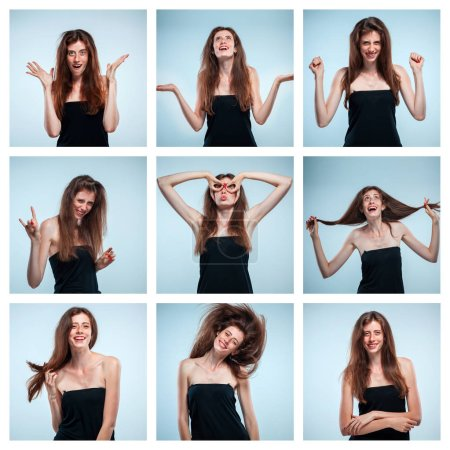 Photo for The collage of young womans portraits with different happy emotions - Royalty Free Image
