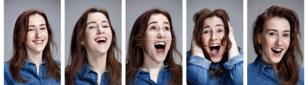 Set of young womans portraits with different happy emotions