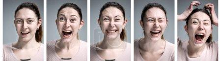 Photo pour Le collage de portraits de jeunes femmes avec différentes émotions heureuses - image libre de droit